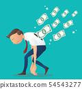 depressed businessman with money bills 54543277