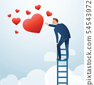 man on ladder trying to catch the heart 54543972