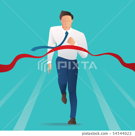 Businessman successful in a finishing line  54544022