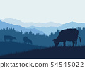 Realistic illustration with three silhouettes of 54545022