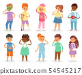 Sick kids child with headache and temperature and children catching a cold or flu illustration set 54545217