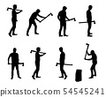 Set of realistic vector silhouettes of man with ax 54545241