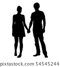Realistic silhouette of young man and woman 54545244