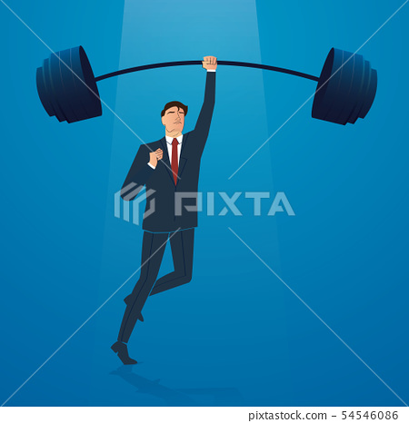 successful businessman weight lifting  54546086