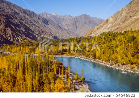 Rriver flowing through colorful forest in autumn. 54546922