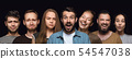 Close up portrait of young people isolated on black studio background 54547038