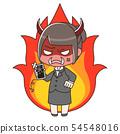 穿着西装的女人,她的智能手机坏了,火了火 54548016