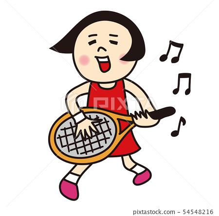 唱網球運動員的女孩 54548216