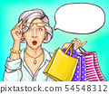 Pop art surprised old woman with shopping bags 54548312