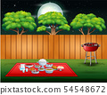 Barbecue party on backyard in the night scene 54548672