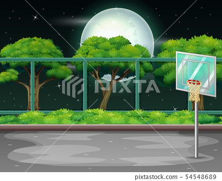 Cartoon background with basketball court in nature 54548689