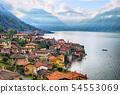 View of Como Lake, Milan, Italy, Alps mountains 54553069