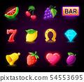Colorful slots icon set for casino slot machine, gambling games 54553695