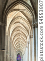 Archway in the gothic cathedral of Reims, France 54553907