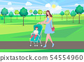 Woman Walking with Perambulator and Kid in Park 54554960