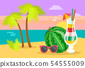 Card with Ocean View and Sunset, Beach Vector 54555009