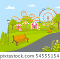 Amusement Park with Ferris Wheel Attraction Vector 54555154