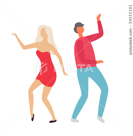 People Dancing at Party, Clubbing Man and Woman 54555191