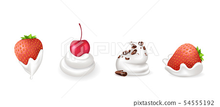 Strawberry and Cherry, Chocolate with Cream Vector 54555192