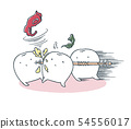 A loose tooth charges with a toothpick 54556017