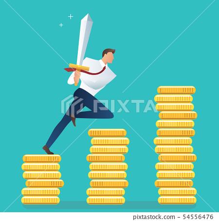 business man with sword running and dollar icon 54556476