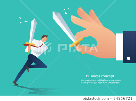 businessman hold sword fighting with the boss 54556721