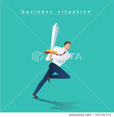 business man with sword running to successful 54556753