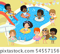 Pool party Kids. Multiracial children have fun in pool. Little Girl in Swimsuit Funny Summer 54557156