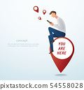 man using smartphone and sitting on pin icon  54558028