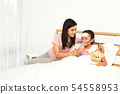 Young asian mother child sick care 54558953