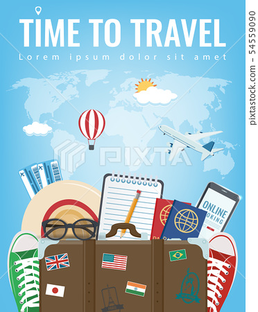 Travel composition with travel equipment. Travel and Tourism concept. Vector 54559090