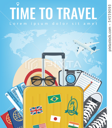 Travel composition with travel equipment. Travel and Tourism concept. Vector 54559093