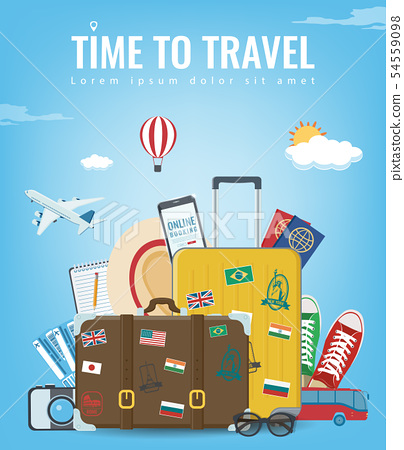 Travel composition with travel equipment. Travel and Tourism concept. Vector 54559098