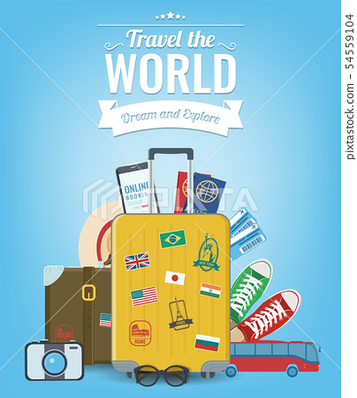 Travel composition with travel equipment. Travel and Tourism concept. Vector 54559104