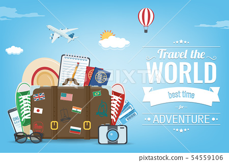 Travel composition with travel equipment. Travel and Tourism concept. Vector 54559106