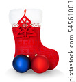 Red Santa's boot isolated on white background. 54561003