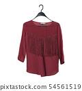 Bordeaux blouse with fringe hanging on a hanger. 54561519