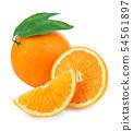 Orange fruit isolate. Fresh orange with leaves. 54561897