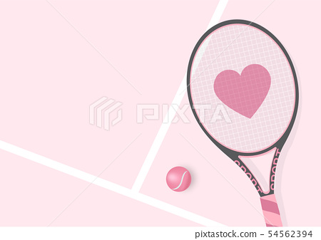 Realistic Pastel Pink Racket  with Heart and 54562394