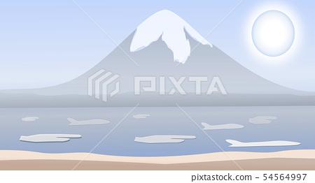 Fuji mountain fire. illustration Vector design bac 54564997