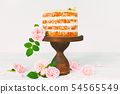 Fresh holiday naked cake with cream and pink roses 54565549