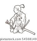 Samurai warriors with swords action cartoon vector 54568149