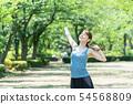 วิ่งออกกำลังกายรูปหญิงสาว 54568809