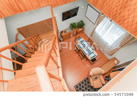 Wooden ladder in the house 54571096