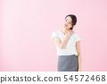 비즈니스 20 대 여성 (분홍색 배경) 54572468