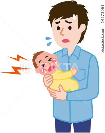 울음을 그치지 않는 아기 아빠 54573061