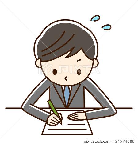 學習男孩學生努力工作 54574089