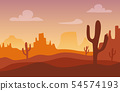Desert sunset silhouette landscape. Arizona or Mexico western cartoon background with wild cactus 54574193