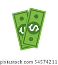 Dollar money icon. Cash sign bill symbol flat payment, dollar currency icon 54574211