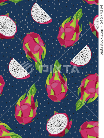 Dragon fruit and slice seamless pattern with seed 54574394
